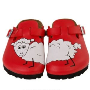 Birkenstock's Kids Woodby Sheep Red Clog NEW